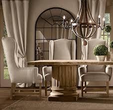 Restoration Hardware Dining Room Tables Belfort Wingback Upholstered Dining Chair Fabric Arm U0026 Side