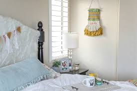 how to woven wall hanging make and takes time to hang your woven wall hanging up i decided to pop mine in my bedroom it makes me happy seeing those bright colors first thing in the morning