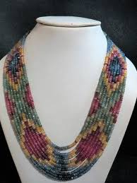 multi colored stones necklace images 9 strand sapphire ruby emerald multi color gemstone necklace at jpg