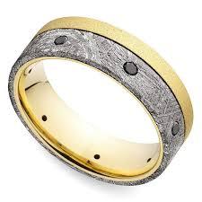 meteorite mens wedding band black diamond men s wedding ring with meteorite inlay in yellow gold