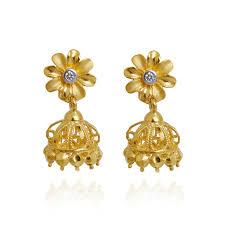 gold earrings images earrings 22kt flower hanging gold earrings grt jewellers