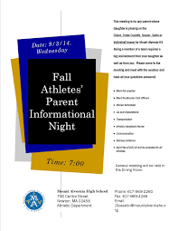 fall athletes u0027 parents information night mount alvernia high