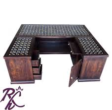 buy solid wooden brass work office counter table online in india