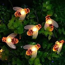 icicle solar string lights 20 led honey bee shape solar powered