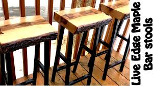 Woodworking Stool Plans For Free by Making Live Edge Maple Bar Stools Diy W Free Plans Youtube