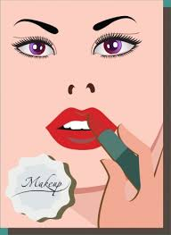 makeup banner woman face sketch lipstick icon vectors stock in