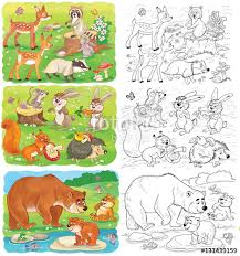 set of cute woodland animals coloring page cute deer badger