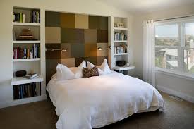 bookcase headboard bedroom contemporary with built in bookshelves