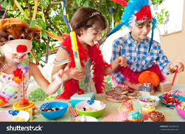 group children friends birthday party table stock photo 333506126