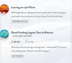 gift list the wedding gift list for your honeymoon buy our honeymoon