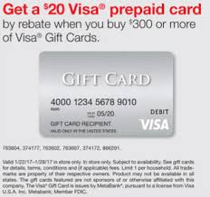 20 dollar gift card staples 20 rebate with the purchase of 300 in visa gift cards