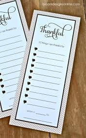 free printable thankful lists give each guest before dinner to