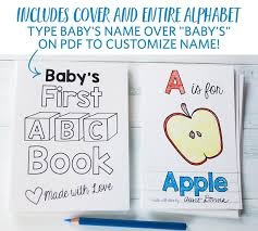 abc book custom coloring books baby shower activity diy