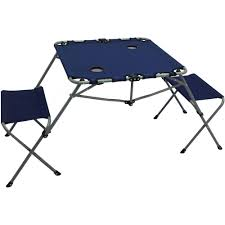 Folding Outdoor Table And Chairs Ozark Trail 2 In 1 Table Set With Two Seats And Two Cup Holders