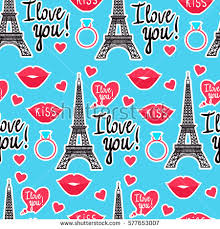 eiffel tower wrapping paper seamless pattern eiffel tower lipstick stock vector