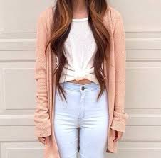 light blue cardigan sweater peach tie front top light blue jeans high waisted jeans skinny