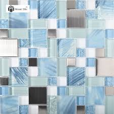 TST Mosaic Tiles The Professional Modern Interior Wall Tile - Blue glass tile backsplash