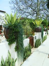 spanish style garden with low concrete fence and clay pots also