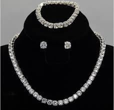 silver earrings bracelet set images Buy luxury sparking nscd synthetic gem stud jpg