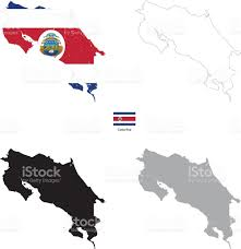 Costa Rica On World Map by Costa Rica Country Black Silhouette And With Flag On Background