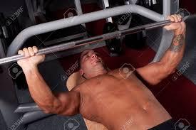 Bodybuilder Bench Press Bodybuilder Training In The Gym Bench Press Stock Photo Picture