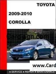 2009 2010 toyota corolla repair manual body repair manual