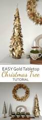 Christmas Tree With Gold Decorations Make An Easy Stunning Gold Leaf Tabletop Christmas Tree