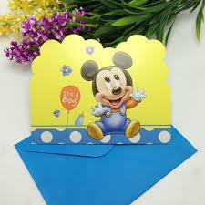 12pcs cards 12pcs envelopes baby mickey invitation card birthday