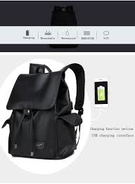augur fashion men backpacks pu leather usb charging travel