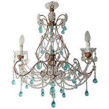 Crystal Chandelier French Aqua Blue Balls And Drops Crystal Chandelier Circa 1920 At