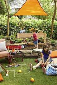 backyard design backyard with patio area and playground for kids