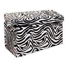 Animal Print Storage Ottoman Simplify Zebra Storage Ottoman F 0632 Zebra The Home Depot