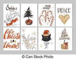 made vector abstract merry greeting card set