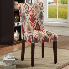 Parson Dining Room Chairs A Beautiful Multi Colored Ikat Pattern Decorates The Fabric