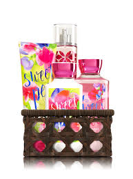 fragrance gift sets kits and baskets bath body works sweet pea basket favorites gift kit bath and body works