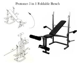 protoner 5 in 1 multy purpose foldable weight lifting bench for