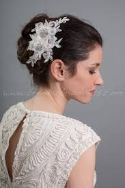 lace fascinator light ivory lace hair clip bridal hair comb wedding lace