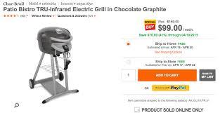 Char Broil Patio Bistro Tru Infrared Electric Grill Home Char Broil Tru Infared Electric Grill 99 Reg 169