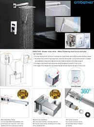 embather brass rainfall shower systems wall mouthed with rain