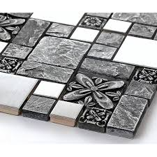 Brushed Stainless Steel Backsplash Mosaic Tile Designs Black - Cheap mosaic tile backsplash