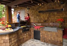 Cheap Outdoor Kitchen Ideas Outdoor Rustic Outdoor Kitchen Ideas With Solid Wood Patio Cover