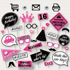 sweet 16 photo booth printable props printable sweet sixteen