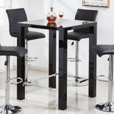 square glass pub table caprice glass bar table in black high gloss and stainless