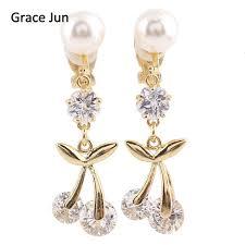 bridal clip on earrings grace jun high quality bridal aaa cz cherry clip on earrings non