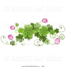 clip art of a st patricks day border of shamrock clovers and pink