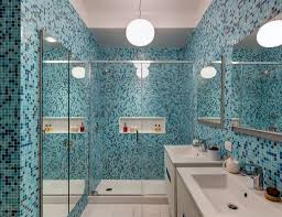 Blue Bathroom Tile by Blue Bathroom Using Mosaic Wall Tiles And Drop In Tub Make A
