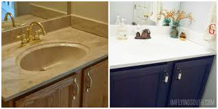 remodelaholic painted bathroom sink and countertop makeover painted bathroom sink tutorial before and after i m flying south featured on
