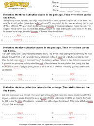 find five collective nouns in the passage worksheet turtle diary