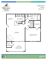 One Bedroom Floor Plans For Apartments by Westbury Mews