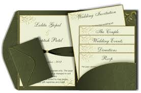 wedding inserts green gold pocket style email wedding card template luxury